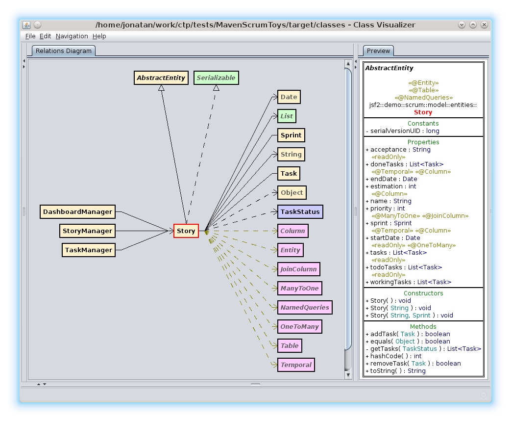 Class visualizer features library classes referenced by project classes are distinguished by grey color like serializable date list string on the ccuart Choice Image