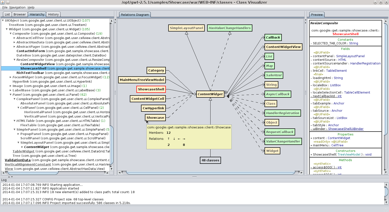 Class visualizer features they can still be viewed one by one in the browser described in one of next sections class diagram ccuart